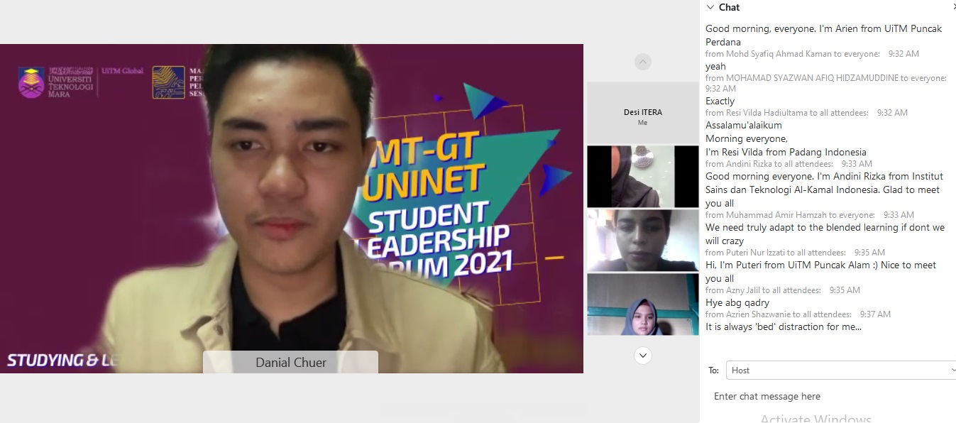 """IMT-GT UNINET held Virtual Student Leadership Forum 2021: """"Will E-learning be effective for post-pandemic?"""""""